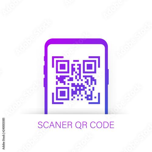 qr code scanning like linear black phone  concept of pixel art
