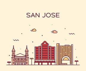 Fototapete - San Jose skyline Northern California USA vector