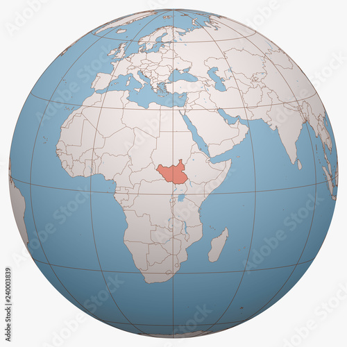 South Sudan on the globe. Earth hemisphere centered at the ...