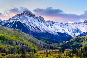 Beautiful and Colorful Colorado Rocky Mountain Autumn Scenery. Mt. Sneffels in the San Juan Mountains at Sunrise