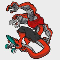 Crocodile skateboarding monster
