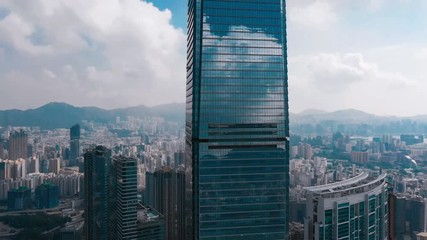 Fototapete - Cinematic color graded footage of aerial view West Kowloon in Hong Kong