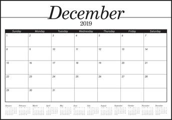 December 2019 desk calendar vector illustration