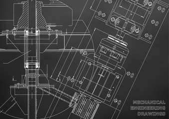 Mechanical engineering drawings. Technical Design. Blueprints. Black background. Grid