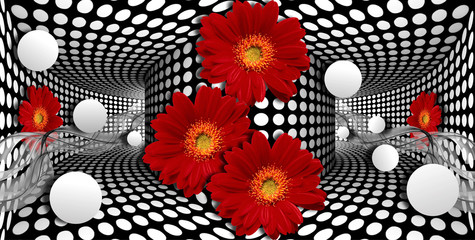 3d wallpaper, red gerberas and sphere on optical illusions background.