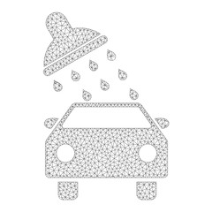 Mesh vector car wash icon on a white background. Polygonal carcass grey car wash image in lowpoly style with structured triangles, dots and linear items.