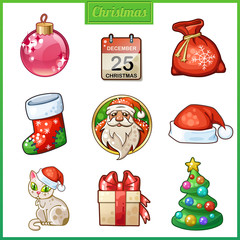 Cartoon icons set for Christmas and New Year