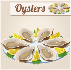 Oysters. Detailed Vector Icon