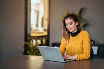 Beautiful casual woman using laptop.