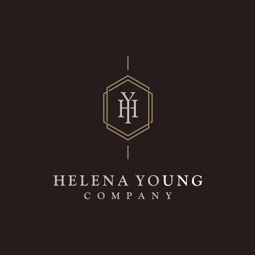 Elegant Luxury Initial Monogram Logo design inspiration with simple Art Deco Line