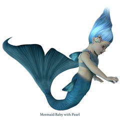 Mermaid Baby with Pearl with Font - A cute illustration of an infant mermaid holding a sea pearl.