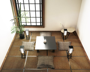 interior design living room with table,tatami mat floor. 3d rendering