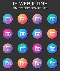 folder icon set. folder web icons on round trendy gradients