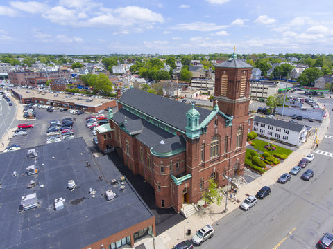 Aerial view Sacred Heart Rectory Church in downtown Malden, Massachusetts, USA.