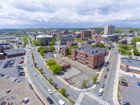 Cheverus School aerial view on Centre Street in downtown Malden, Massachusetts, USA.