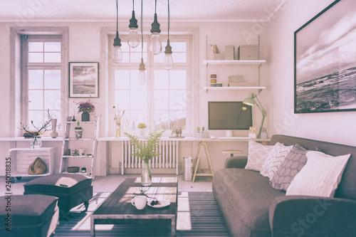 Skandinavische, nordische Wohnung - Wohnzimmer - Retro Look ...
