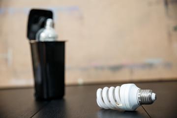 Old burnt fluorescent energy saving lamps.