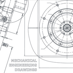 Corporate Identity. Blueprint. Vector engineering illustration. Cover, flyer, banner, background. Instrument-making drawings. Mechanical drawing