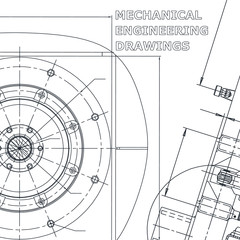 Corporate Identity. Blueprint. Vector engineering illustration. Cover, flyer, banner, background. Instrument-making drawings. Mechanical engineering drawing