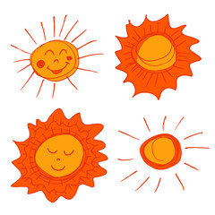 Sun. A set of handmade drawings. Elements for the design of postcards, backgrounds, packaging. Printing for clothing. Doodle