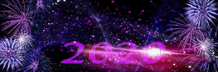 New Year's Eve fireworks, New Year 2020, banner