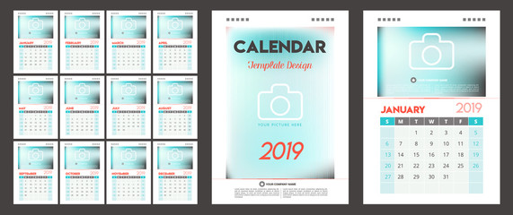 Calendar 2019 vector design. All elements are on separate layers. Vector, illustration, eps 10