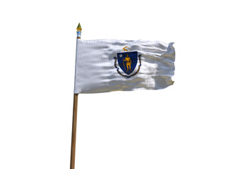 Massachusetts flag USA flag Isolated Silk waving flag made transparent fabric of Massachusetts US state with wooden flagpole gold spear on white background isolate real foto 3d illustration
