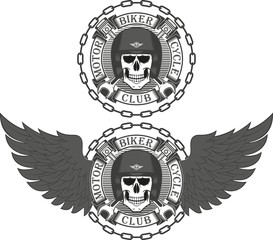 Biker emblem. Skull in helmet banner with text, chain, piston and wrench