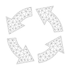 Mesh vector circulation icon on a white background. Polygonal wireframe dark gray circulation image in lowpoly style with combined triangles, nodes and linear items.
