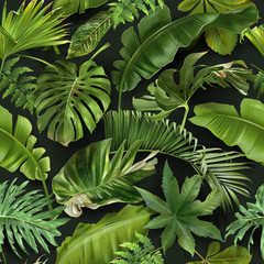 Vector seamless pattern with green tropical leaves