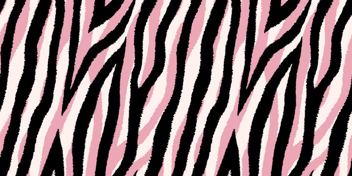 Seamless pattern with pastel pink and black zebra stripes. Vector wallpaper.