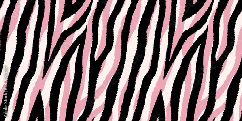 Seamless Pattern With Pastel Pink And Black Zebra Stripes