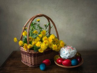 Easter Still life with bouquet dandelions