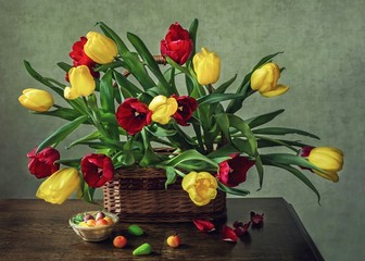 Still life with bouquet of multicolored  tulips