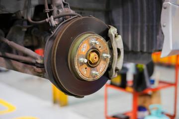 car brake part at garage,car brake disc without wheels closeup