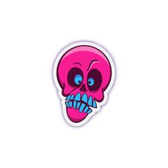 Skull sticker. Isolated vector illustration.