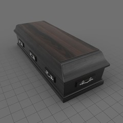 Closed wooden coffin
