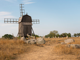 a wooden windmill in Sweden
