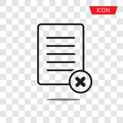 Reject file line icon. Decline document sign. Delete file icon vector isolated on white background.