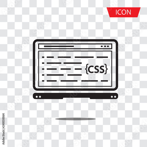 CSS Coding, Programming Isolated Vector Icon on white