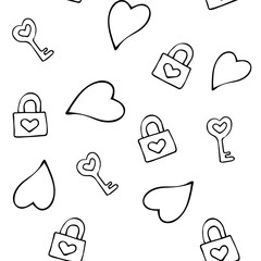Seamless pattern for Valentine's day. Hearts, clasps and keys. In isolation. Black and white pattern.