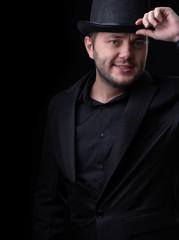 Photo of men in black hat on empty background
