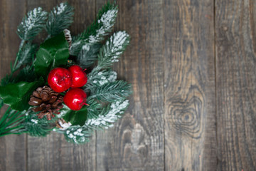 red berries with pine branches