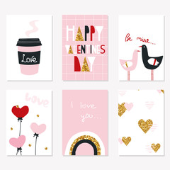 Happy Valentine's day greeting cards. Cute holiday set. Vector hand drawn illustration.