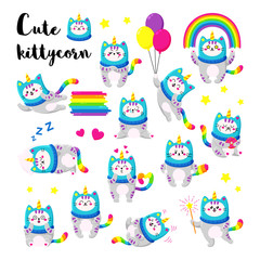 Cute cartoon vector doodle cats collection. Kitten in a unicorn hat. Magic character set. Template for greeting cards, design, textiles