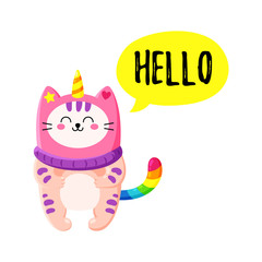 Cute cartoon vector doodle cat.