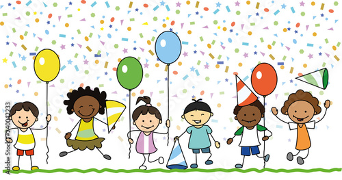 Group Of Happy Kids Having Fun On Birthday Party