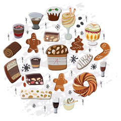 Traditional festive hand drawn desserts.