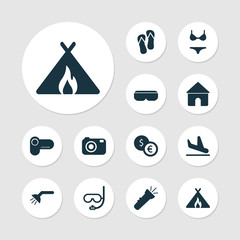 Tourism icons set with camera, shower, flashlight and other photography  elements. Isolated vector illustration tourism icons.