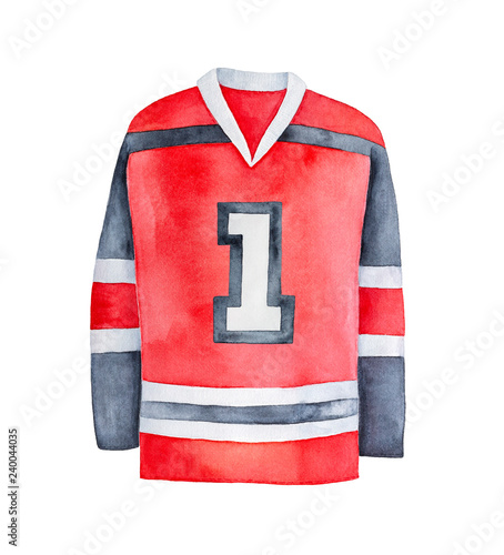 Bright Red Black And White Ice Hockey Jersey With Number 1 One